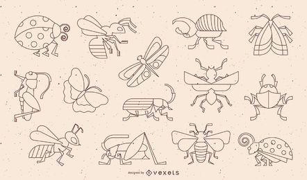 Colección de diseño de trazo geométrico de insectos