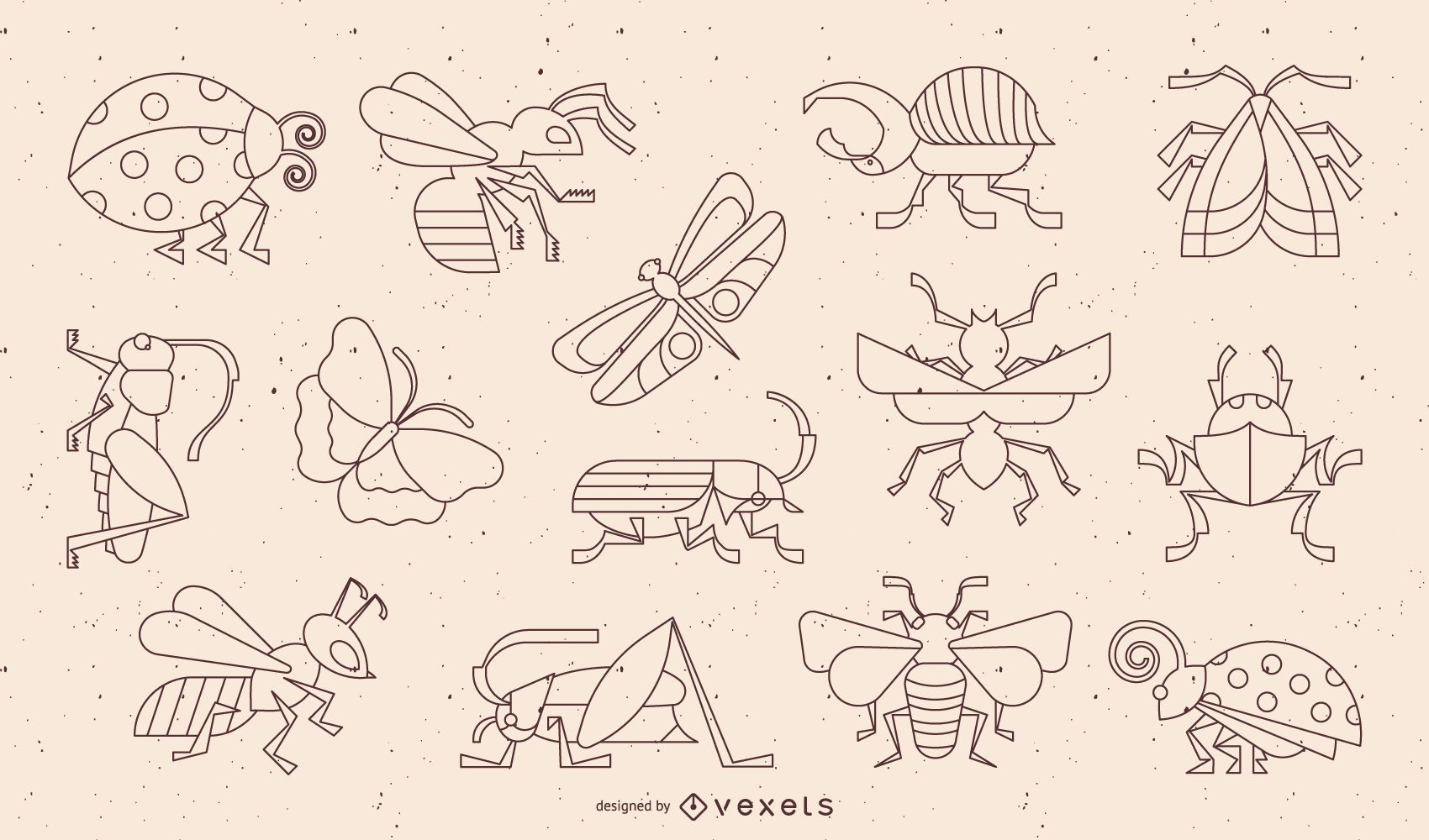 Insect Geometric Stroke Design Collection