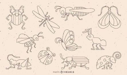 Colección de líneas de trazos de insectos