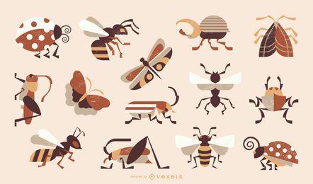 Coleção colorida de insetos estilo geométrico