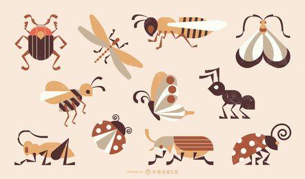 Coleção de estilo geométrico de insetos