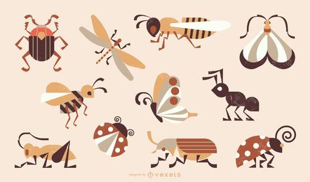 Colección de insectos estilo geométrico