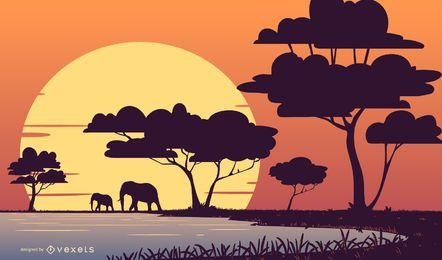 Safari Sonnenuntergang Landschaftsillustration