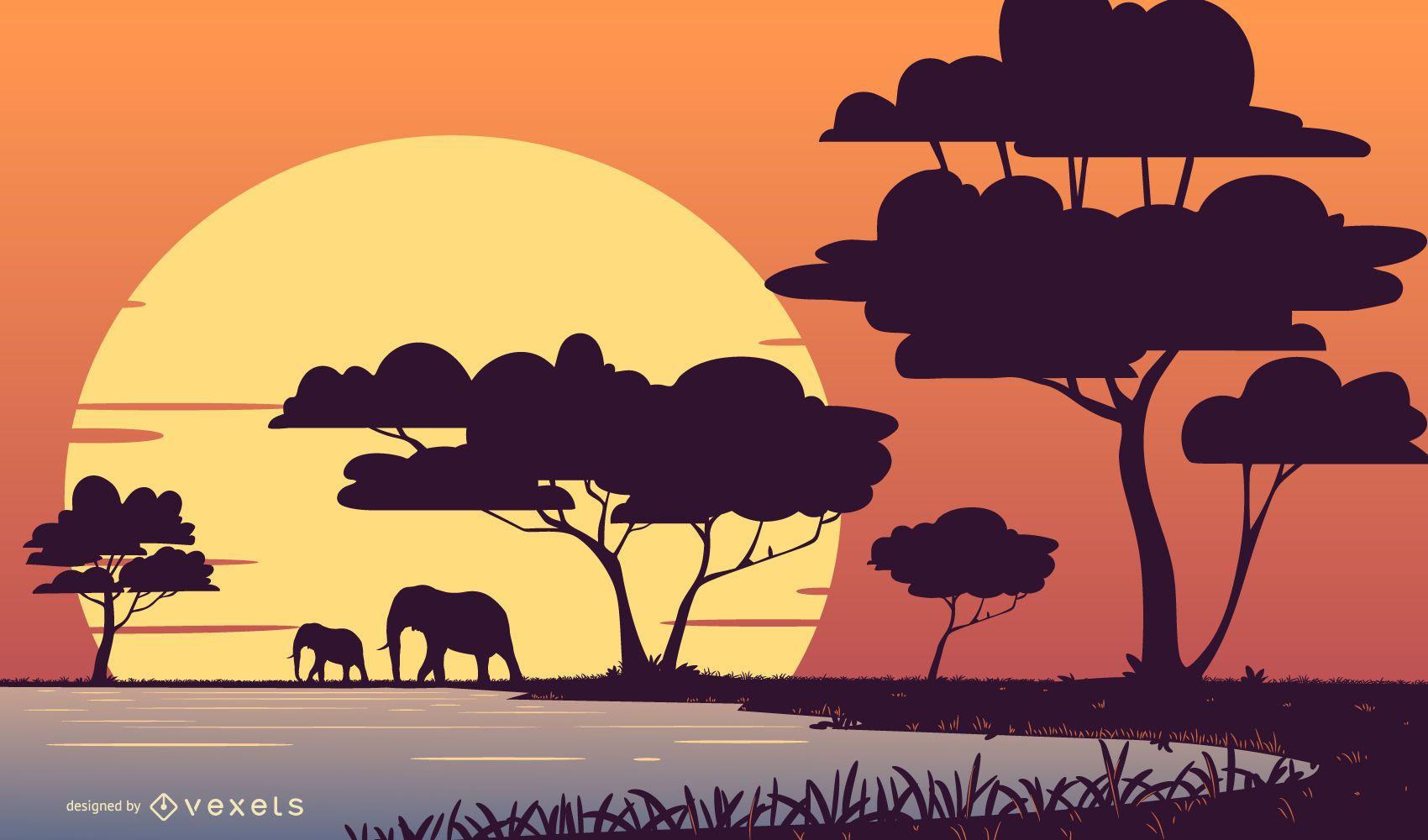 Ilustração da paisagem do pôr do sol do safari
