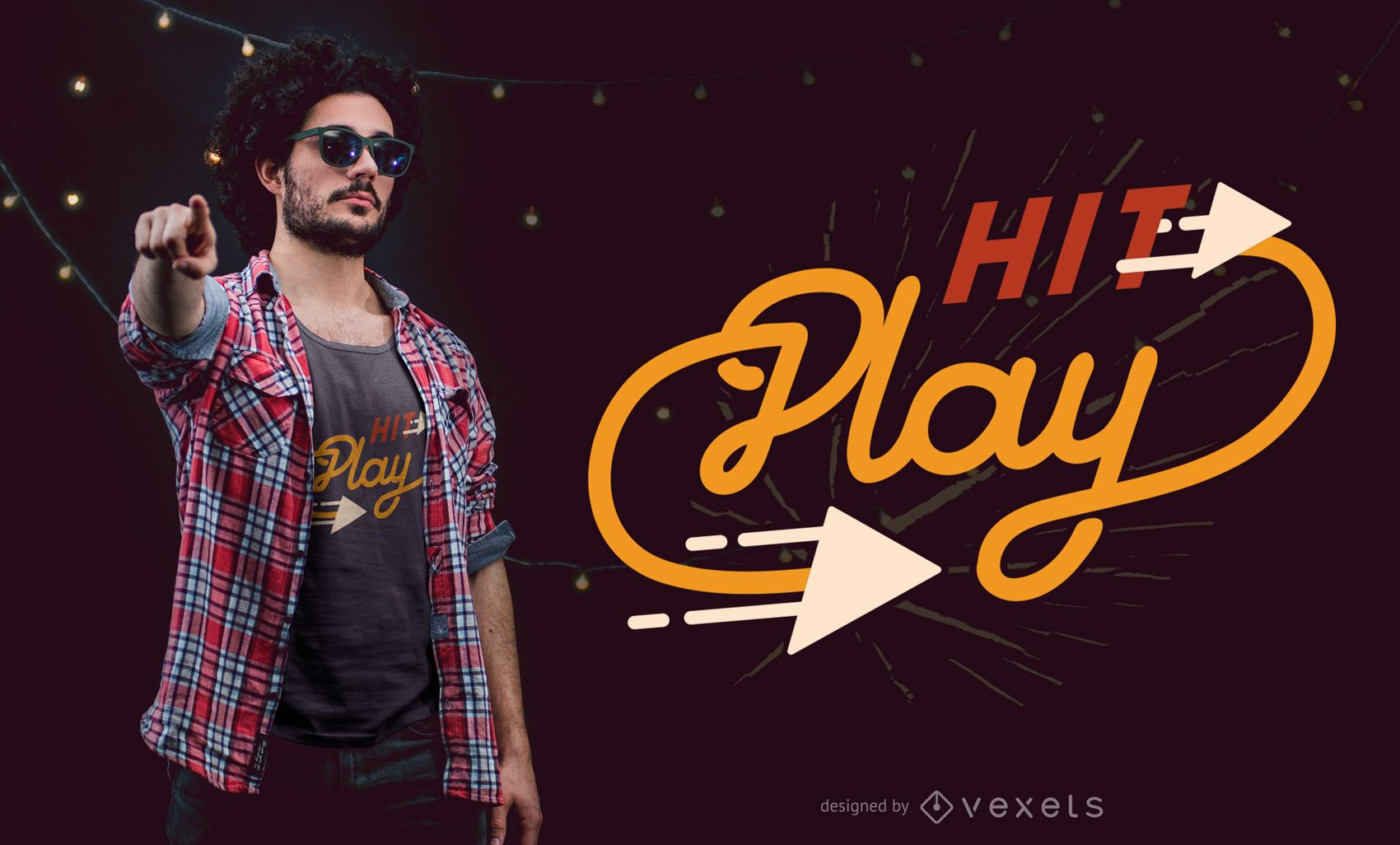 Hit play t-shirt design
