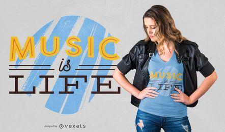 Diseño de camiseta de música es vida.