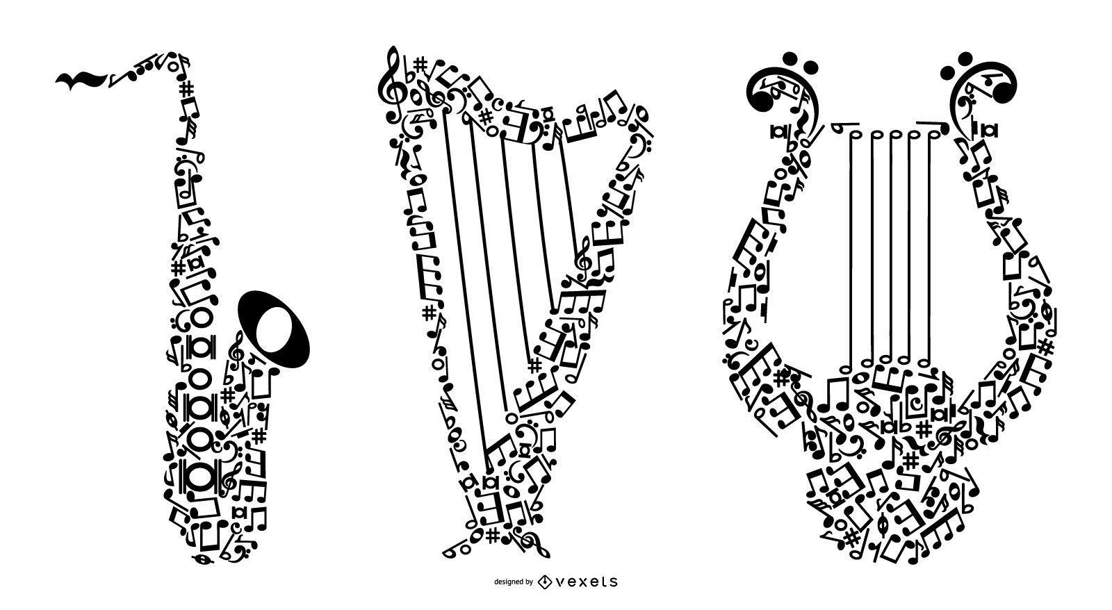 Conjunto de instrumentos musicales con notas