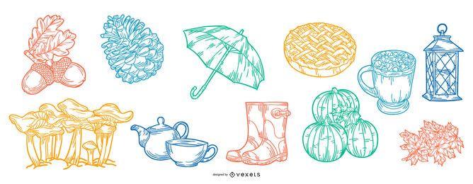 Colección de ilustración de trazo de elementos de otoño