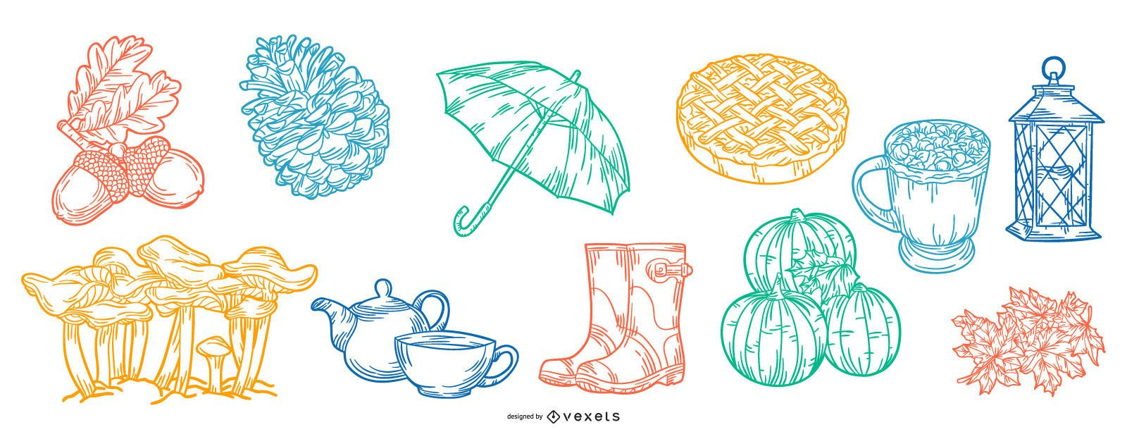 Fall Elements Stroke Illustration Collection
