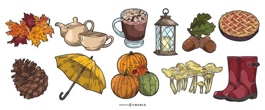 Pacote de elementos de outono