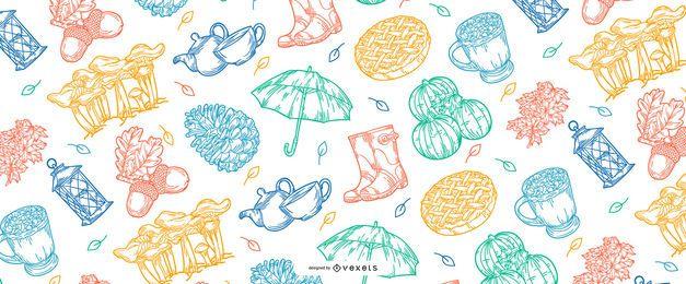 Diseño de patrón de elementos de otoño
