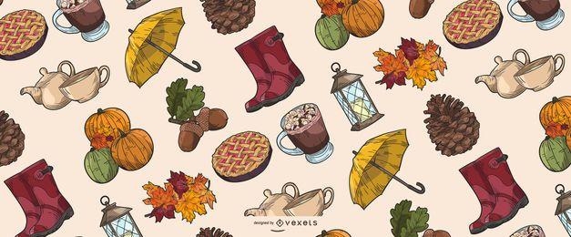 Colección de ilustración de elementos de otoño