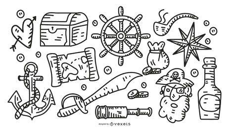 Coleção de elementos de traçado de pirata