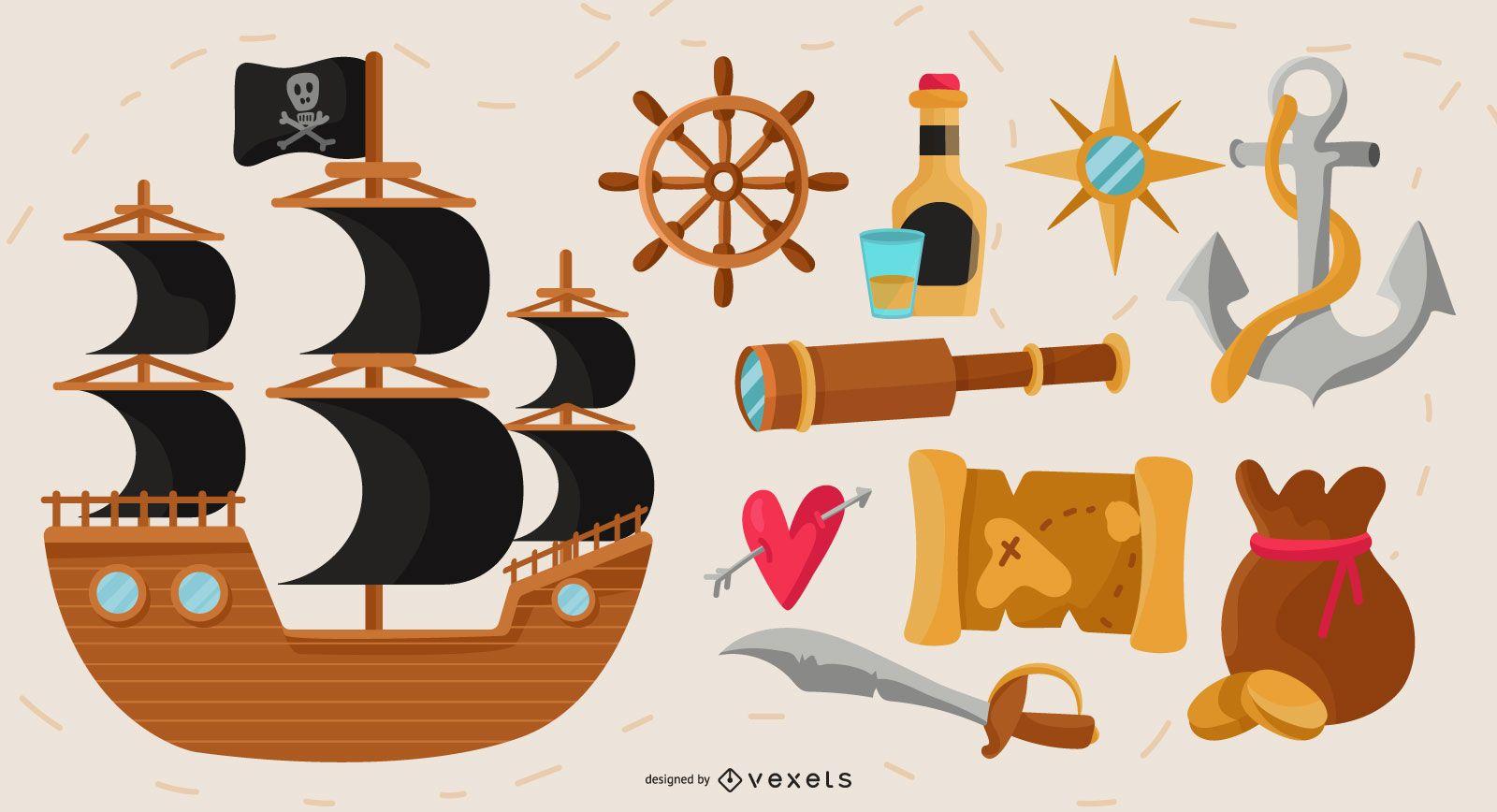 Pirate elements vector set