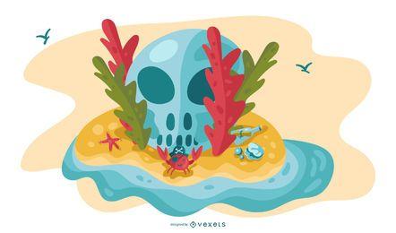 Ilustración de calavera de isla pirata