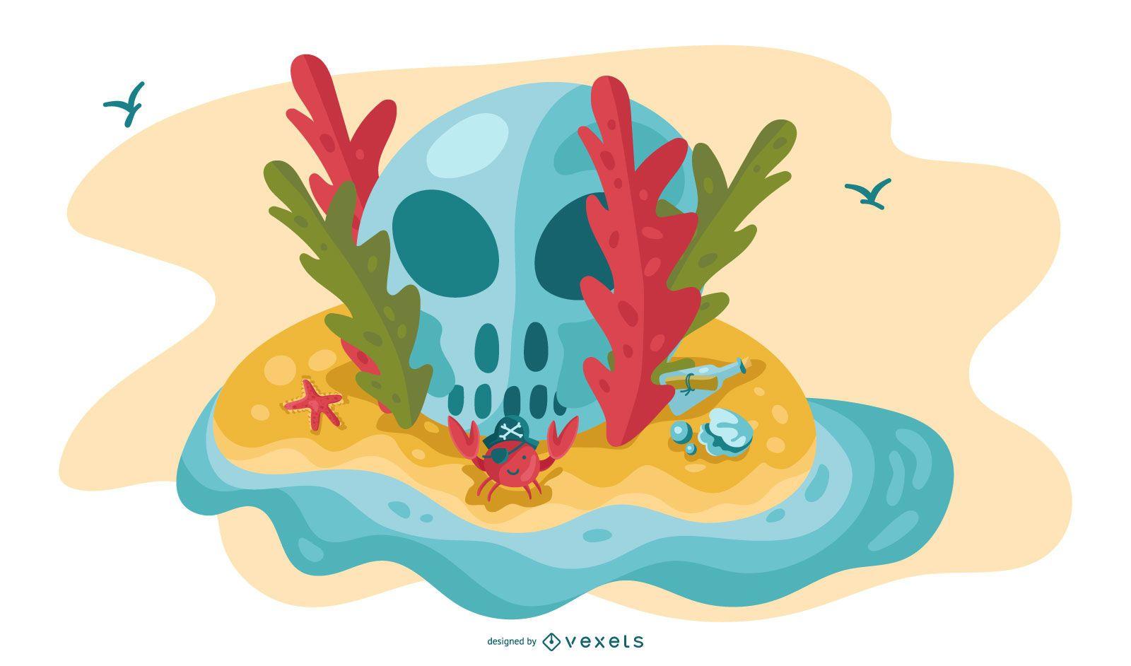 Pirate Island Skull Illustration