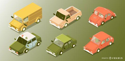 Conjunto de vetores de carros isométricos