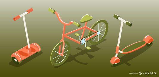 Conjunto isométrico de vehículos de transporte personal