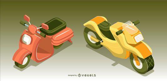 Conjunto de diseño de vehículo de moto isométrica