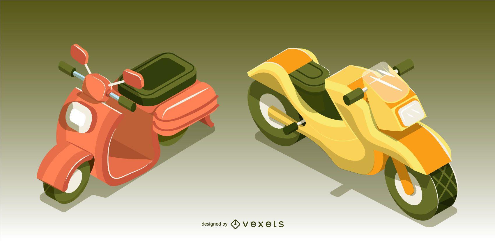 Conjunto de diseño de vehículo de moto isométrico