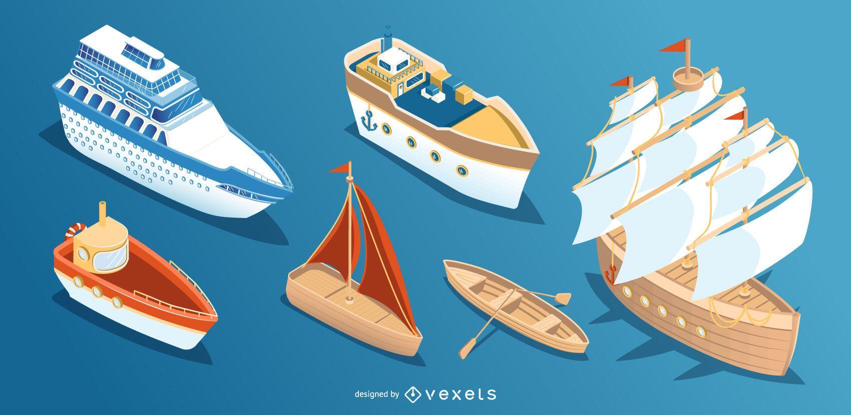 Colección de diseño de barco barco isométrico