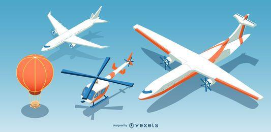 Conjunto de aviones isométricos