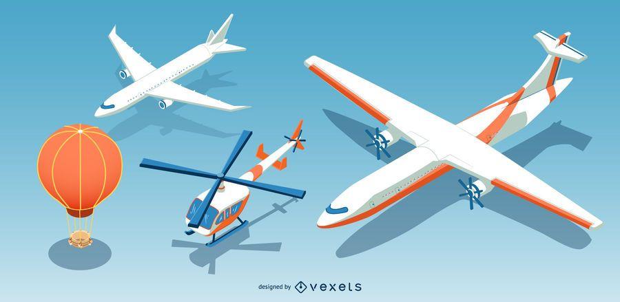 Conjunto de aeronaves isométrico