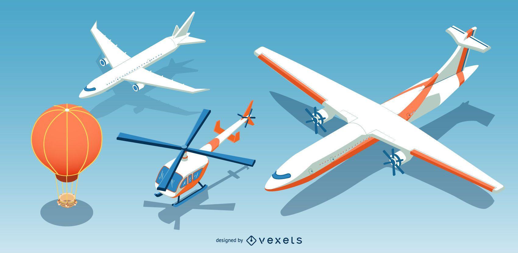 Conjunto de aeronaves isométricas