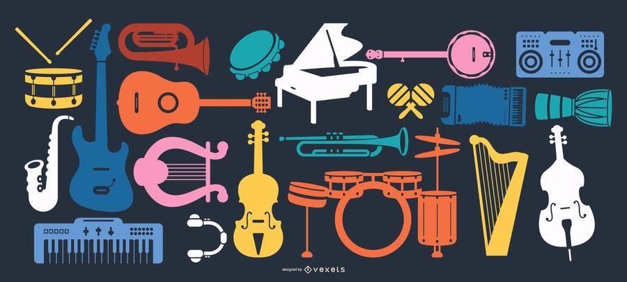 Coleção de silhueta de instrumentos musicais