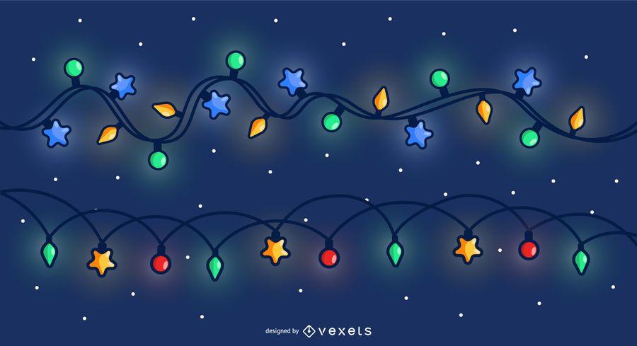 Fundo do céu de luzes de Natal