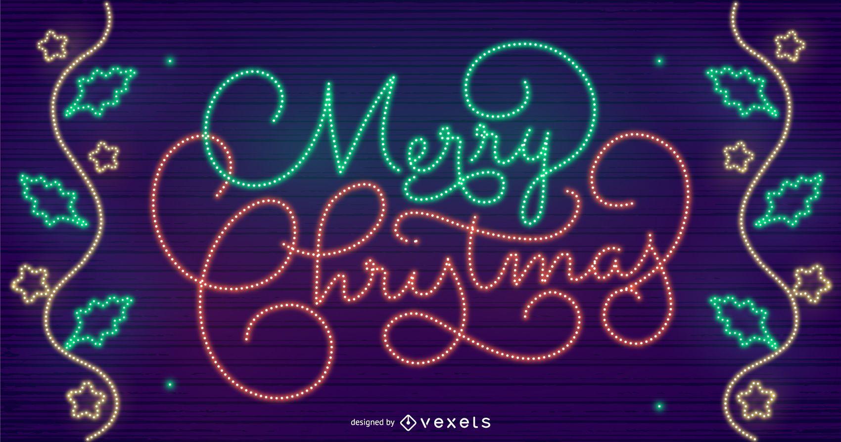 Merry christmas lights background design