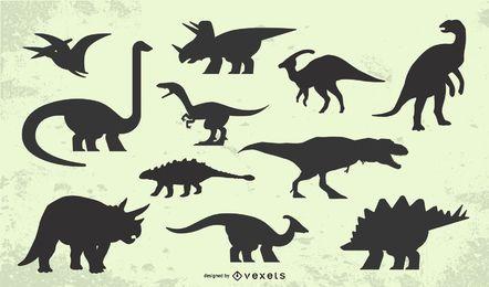 Conjunto de silhueta de dinossauro