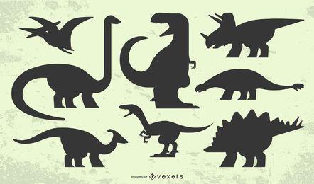Conjunto de silueta de dinosaurio