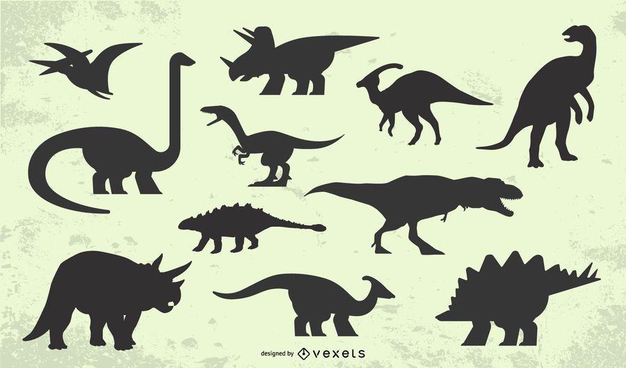 Dinosaur silhouette set