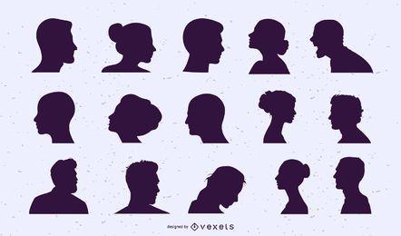 Conjunto de silueta de cabezas de personas