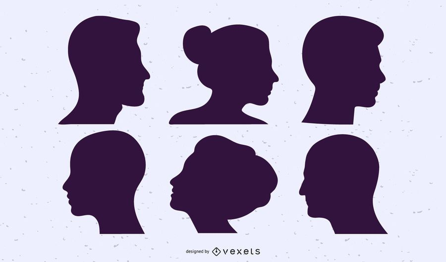 People heads silhouette set