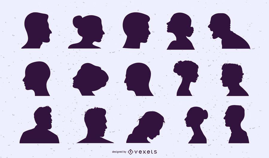 Conjunto de silhueta de cabeças de pessoas