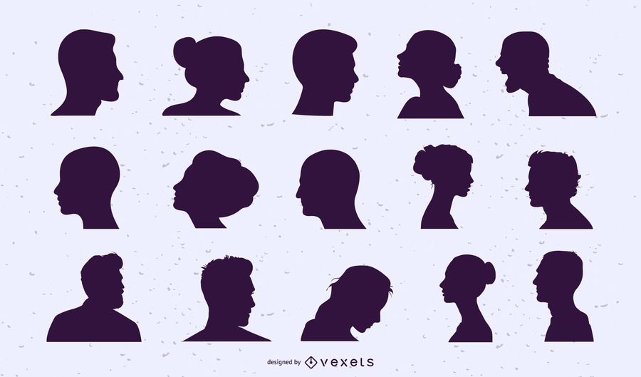 People heads silhouette set