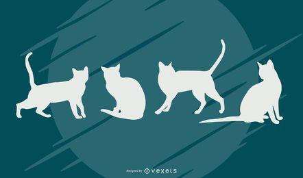 Conjunto de vectores de silueta de gato