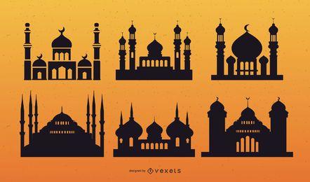 Conjunto de vectores de silueta de mezquita