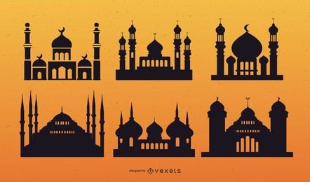 Mosque Silhouette Vector Set