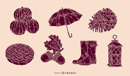 Conjunto de vetores de silhueta de elementos de ação de graças