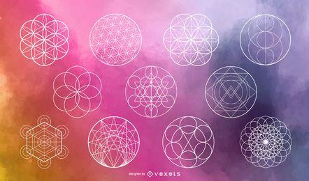 Conjunto de vetores de círculo de geometria sagrada