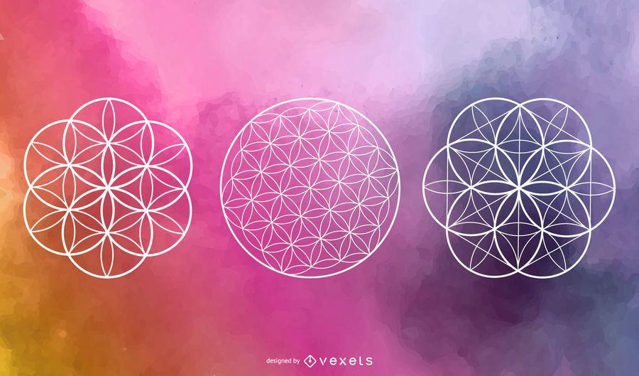 Conjunto de vectores de círculo de geometría sagrada