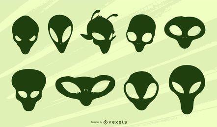 Conjunto de silhueta de cabeças alienígenas