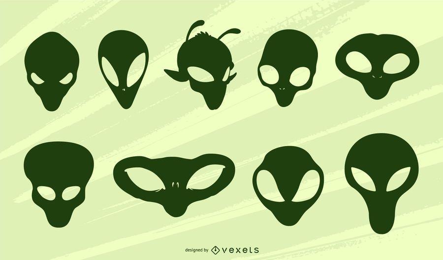 Alien heads silhouette set
