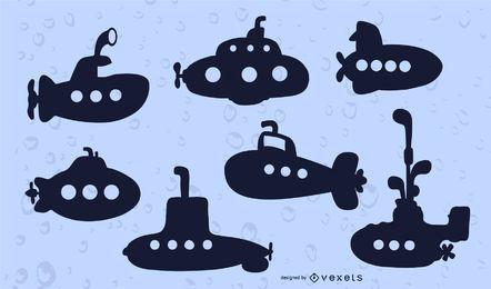 Conjunto de vector de silueta submarina
