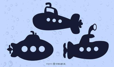 Conjunto de vetores silhueta submarina