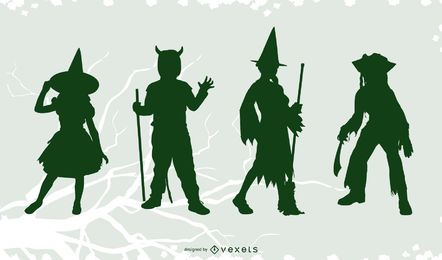 Halloween costumes silhouette set