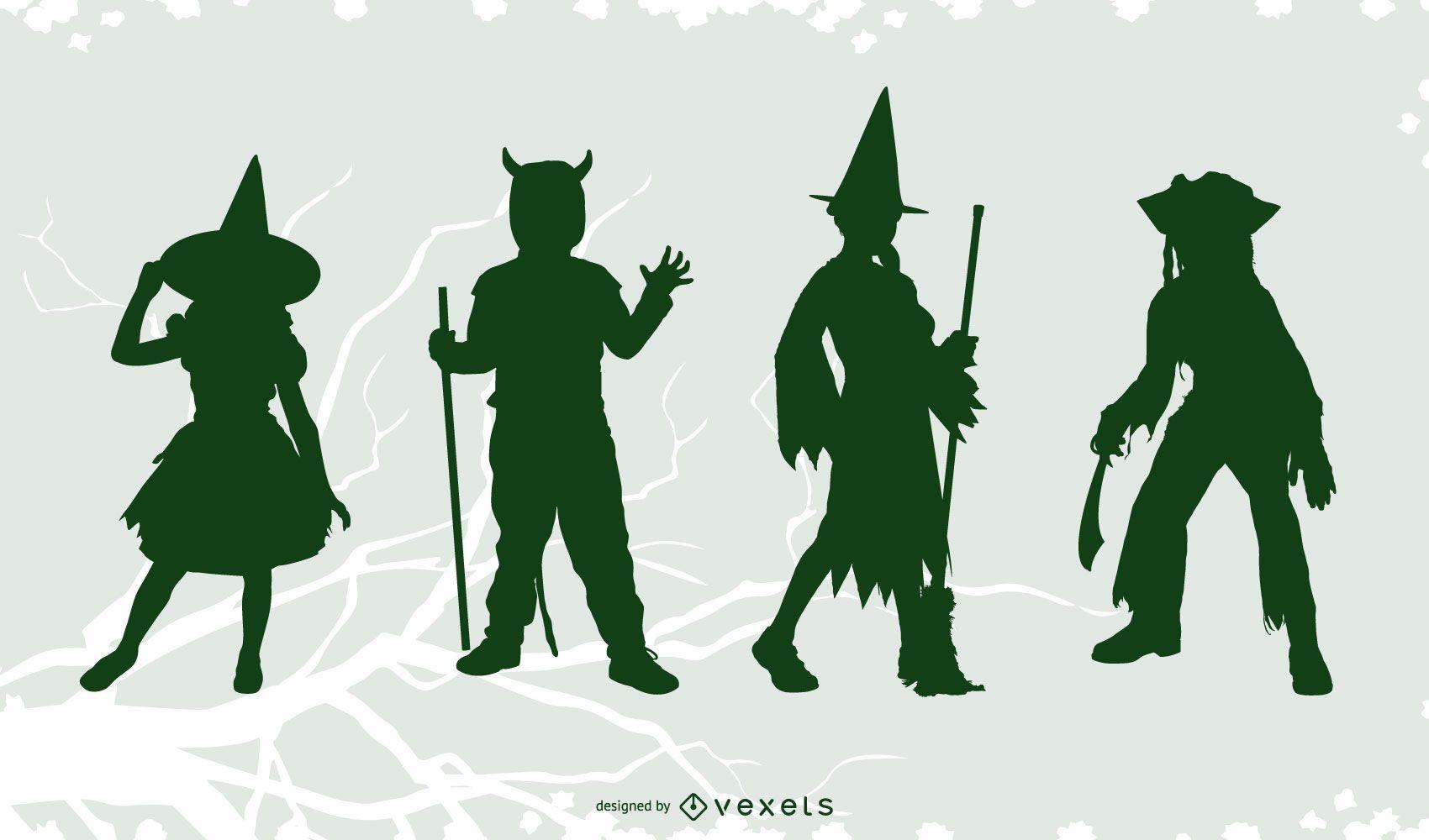 Halloween costumes silhouette set